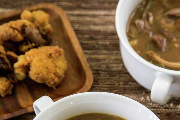 """Smoked Duck Gumbo from """"Backstreet Kitchen: Seasonal Recipes from Our Neighborhood Cafe"""" by Tracy Vaught and Hugo Ortega."""