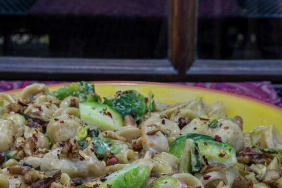 """Orecchiette with Brussels Sprouts, Walnuts and Gorgonzola from """"Backstreet Kitchen: Seasonal Recipes from Our Neighborhood Cafe"""" by Tracy Vaught and Hugo Ortega."""