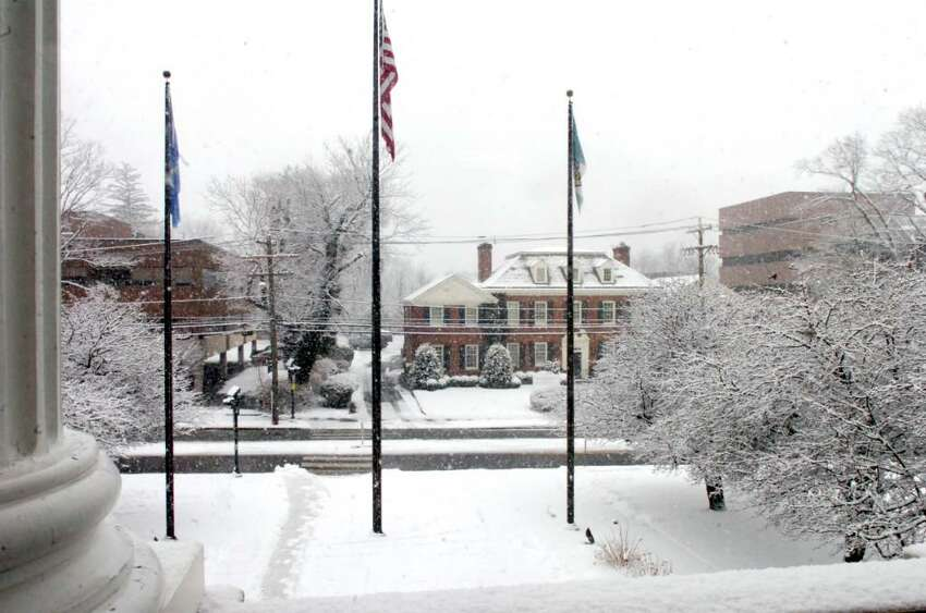 The view of snow from Greenwich Town Hall, on January 28, 2010.