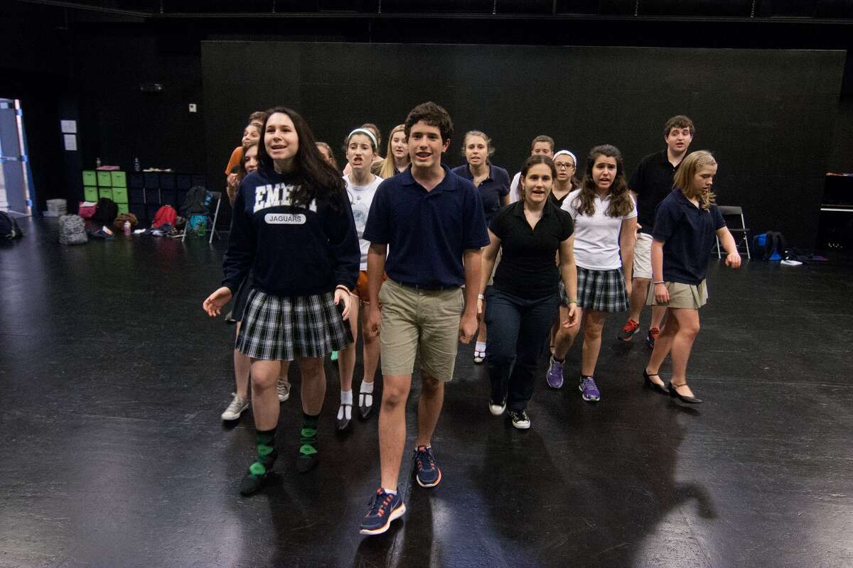 """Audrey Goodman, 15, left, Avery Tiras, 16, and the rest of the cast for the Emery-Weiner School's production of """"My Favorite Year"""" rehearses for the show, which runs Nov. 2-4 at the school."""