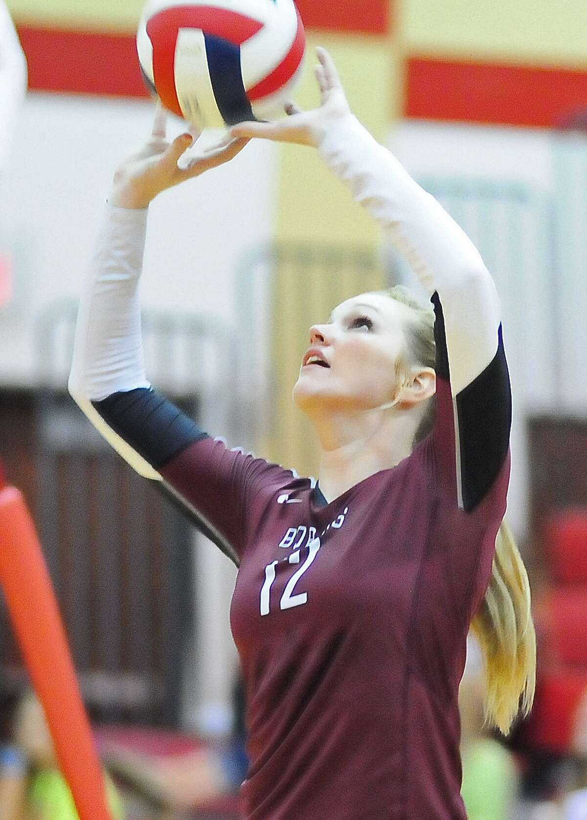 Keely Hayes (#12) competes for Cy-Fair during their game with Cy-Woods Friday 10/25/13.