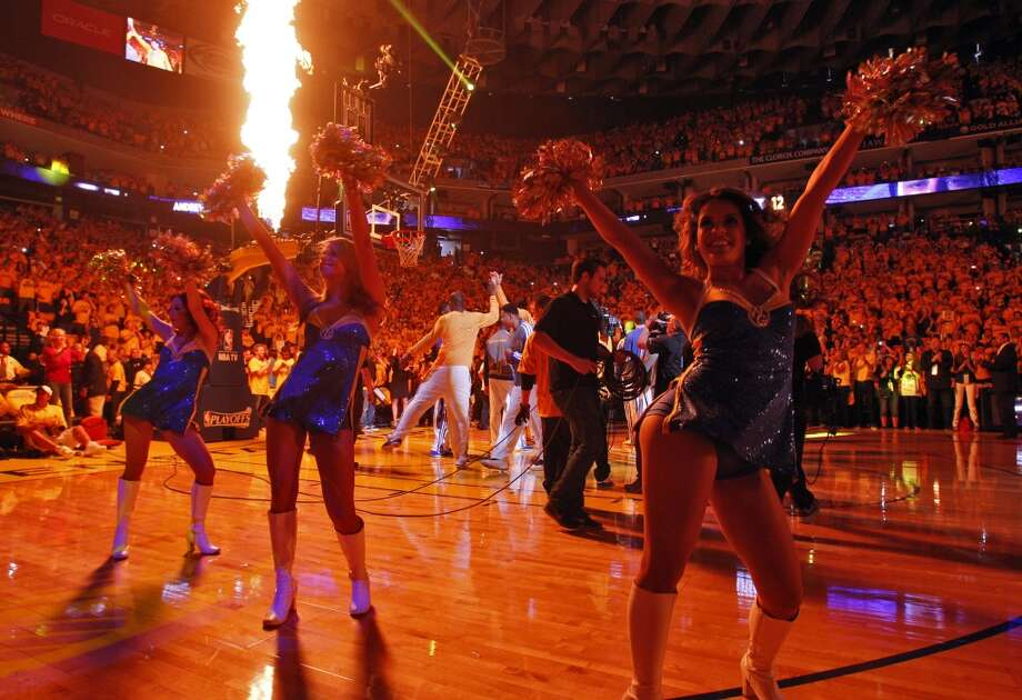 The Warriors Girls dance as the players are introduced before Game 4 of the Western Conference Semifinals at Oracle Arena on May 12, 2013. Photo: Carlos Avila Gonzalez, The Chronicle