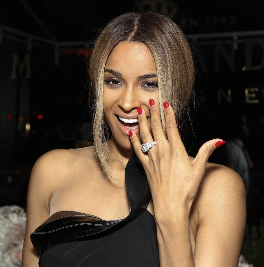 Grammy-nominated singer Ciara celebrated her 28th birthday and her new engagement to rapper Future. Photo: Wireimage/Moët Rosé Lounge