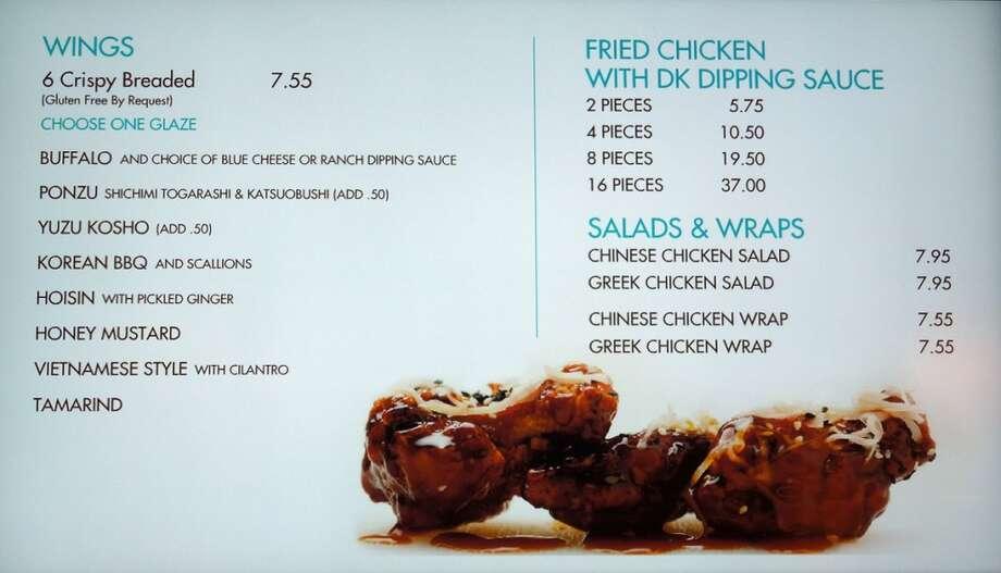 The chicken menu at DK Wings.