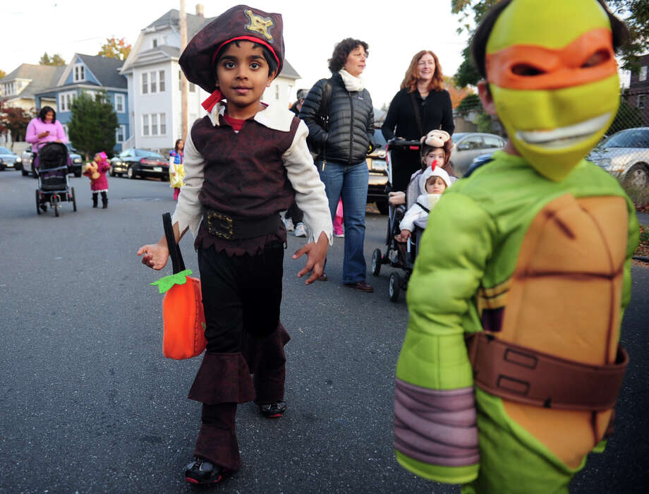 Five-year-old Aarush Bandemegal, of Bridgeport, wears his pirate garb Tuesday, Oct. 29, 2013 for the 5th Annual Black Rock Halloween Parade & Block Party beginning at Ellsworth Park and ending at the Black Rock Branch Library. Photo: Autumn Driscoll / Connecticut Post