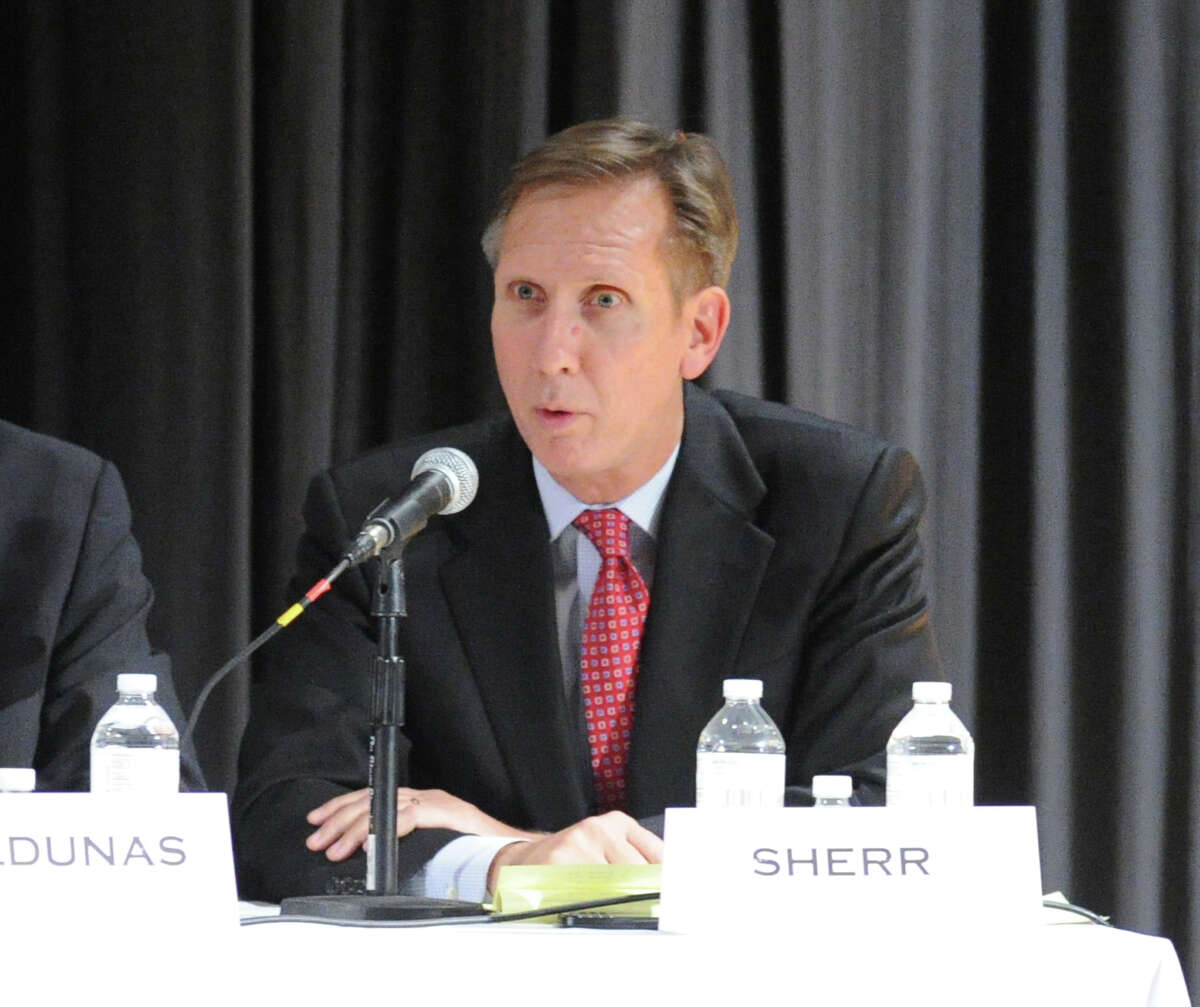 Board of Education candidate, Peter Sherr, a republican seeking re-election to the board, during the candidates forum at Eastern Middle School in Riverside, Tuesday, Oct. 29, 2013.