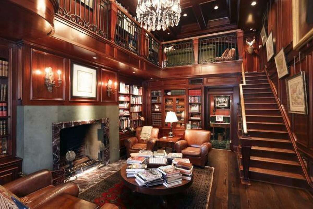 The two-story study offers plenty of room for relaxing.