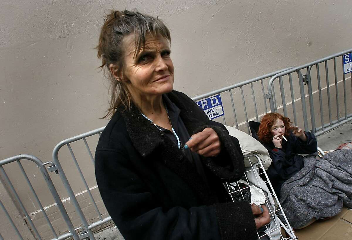 Jill May while she was living on the street. In background is her longtime friend Brandy on March 16, 2006. Jill May, a longtime homeless woman on Jones Street in San Francisco, who recently got a hotel room, was found dead earlier this year. She and her boyfriend Ricky Smith were the subject of a Chronicle story in 2004.