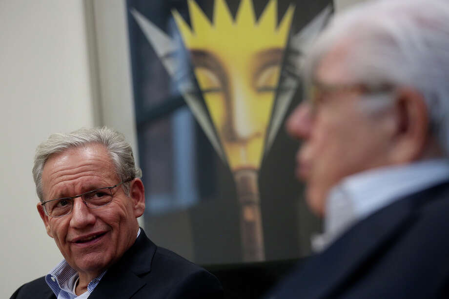 Bob Woodward (left) and Carl Bernstein drew a packed crowd at Trinity University as part of the Distinguished Lecture Series. Photo: Lisa Krantz, San Antonio Express-News / San Antonio Express-News
