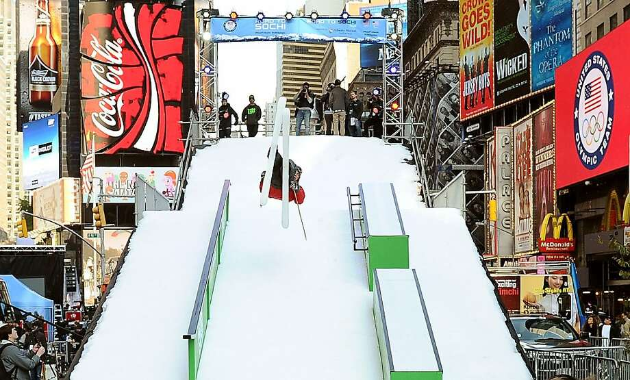 NEW YORK, NY - OCTOBER 29:  Freestyle Skiier Alex Schlopy skis during the USOC 100 Days Out 2014 Sochi Winter Olympics Celebration at Times Square on October 29, 2013 in New York City.  (Photo by Maddie Meyer/Getty Images for USOC) Photo: Maddie Meyer, Getty Images For USOC