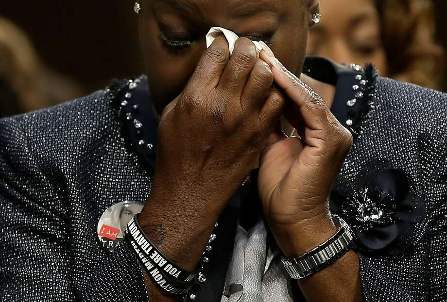 "WASHINGTON, DC - OCTOBER 29:  Sybrina Fulton of Miami, Fla., mother of Trayvon Martin, wipes her eyes during a Senate Judiciary Committee hearing on ""Stand Your Ground"" laws October 29, 2013 in Washington, DC. The committee heard testimony on ""'Stand Your Ground' Laws: Civil Rights and Public Safety Implications of the Expanded Use of Deadly Force.""  (Photo by Win McNamee/Getty Images)  *** BESTPIX *** Photo: Win McNamee, Getty Images"