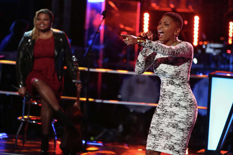 "THE VOICE -- ""Knockout Rounds"" Episode 512 -- Pictured:   (l-r) Stephanie Anne Johnson, Tamara Chauniece -- (Photo by: Tyler Golden/NBC) Photo: NBC, Tyler Golden/NBC / 2013 NBCUniversal Media, LLC"