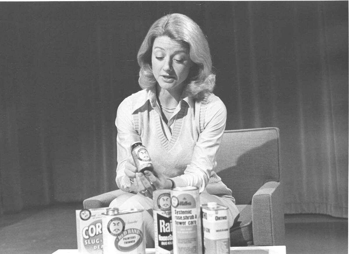 Jean Enersen circa 1970. It appears she is doing a story on Mr. Yuck stickers to warn children of the dangers of toxic household chemicals. She joined KING in 1968. She previously was at KPIX-TV in San Francisco after graduating from Stanford University.