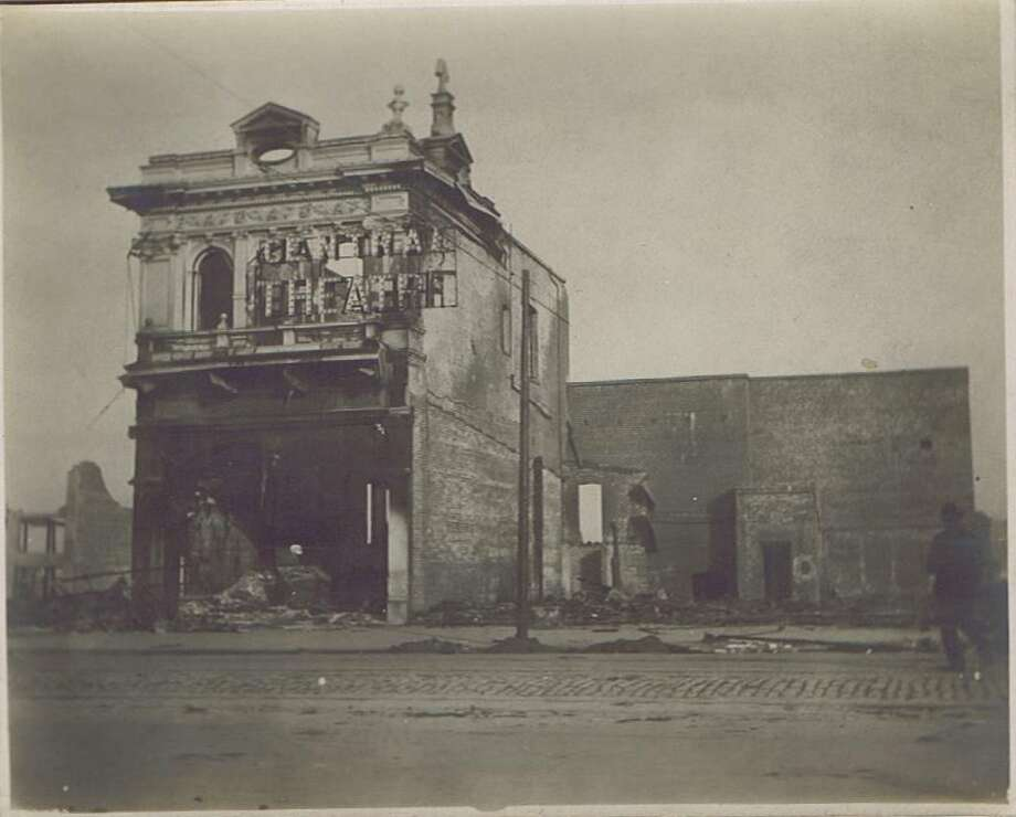 Image showing some of the destruction from the 1906 San Francisco Earthquake and fire. The exact location is unknown.The sign says Central Theatre.