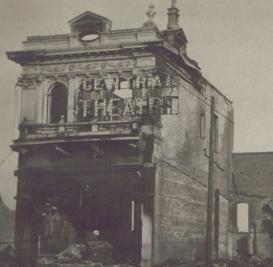 Image showing some of the destruction from the 1906 San Francisco Earthquake and fire. The exact location is unknown.The sign says Central Theatre. (High resolution scanned detail).