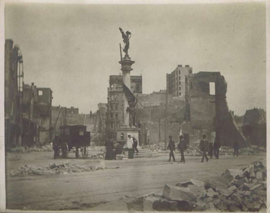 Image showing some of the destruction from the 1906 San Francisco Earthquake and fire. There has been lots of feedback about this photo. It's not Union Square, and apparently was located somewhere on Market Street, near Montgomery./Post. Thanks to all who wrote in or commented.