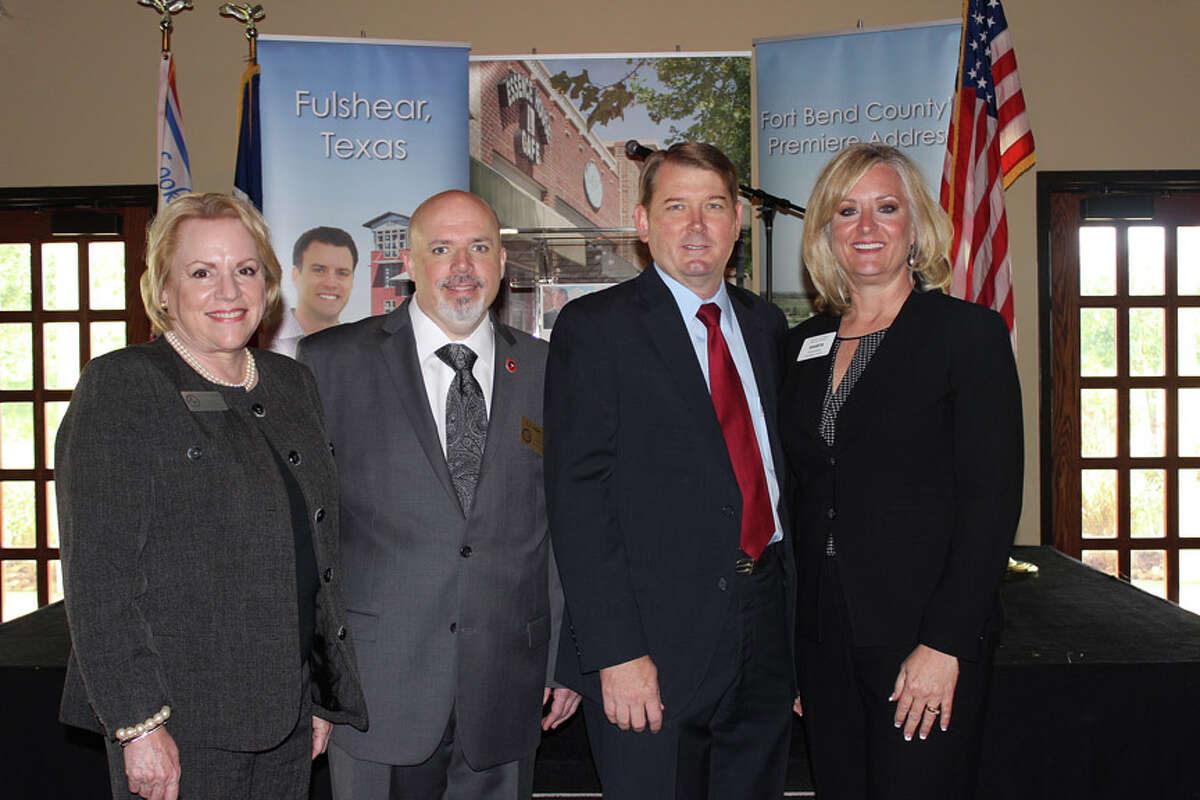 Attending the event were, from left, Cheryl Stalinsky; CJ Snipes, both of the city of Fulshear; Fulshear Mayor Tommy Kuykendall; and Shanta Kuhl, the Central Fort Bend Chamber Alliance president/CEO.