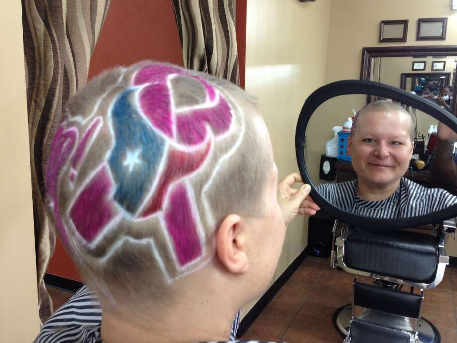 Jill Karnicki, who is going through breast-cancer treatment, shows off her Houston Texans' spirit.