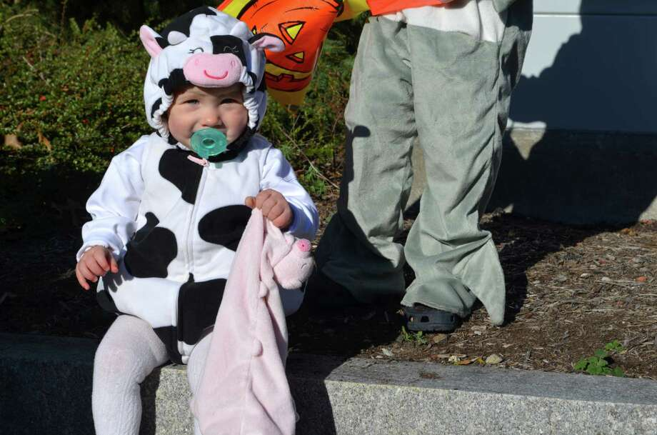 Paige Arniel, 1, was dressed up to trick or treat along the Post Road during the Darien Community Association's Mom's Morning In Halloween parade on Friday, Oct. 25. The parade ended at Tilley Park where the children and their parents were able to watch magician the Amazing Andy. Photo: Megan Spicer / Darien News