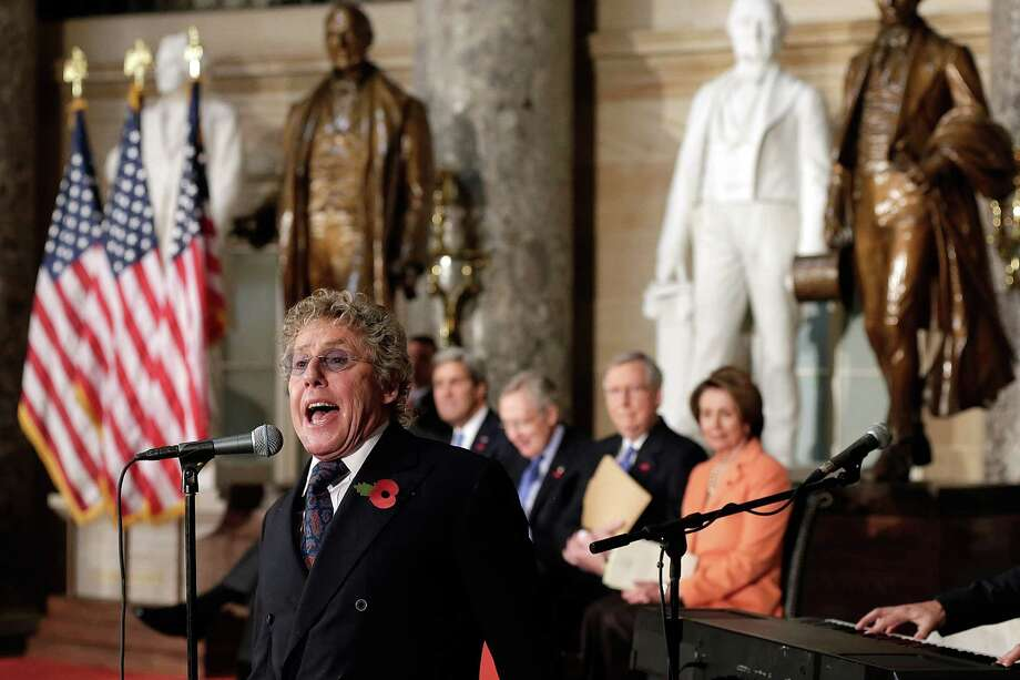 WASHINGTON, DC - OCTOBER 30:  Roger Daltrey, lead singer of The Who, performs during a dedication ceremony for a bust of former British Prime Minister Winston Churchill in Statuary Hall of the U.S. Capitol October 30, 2013 in Washington, DC. The bust was authorized and passed by the House of Representatives shortly before the 70th anniversary of Churchill's wartime address to a joint meeting of Congress.  (Photo by Win McNamee/Getty Images) ORG XMIT: 186543705 Photo: Win McNamee / 2013 Getty Images