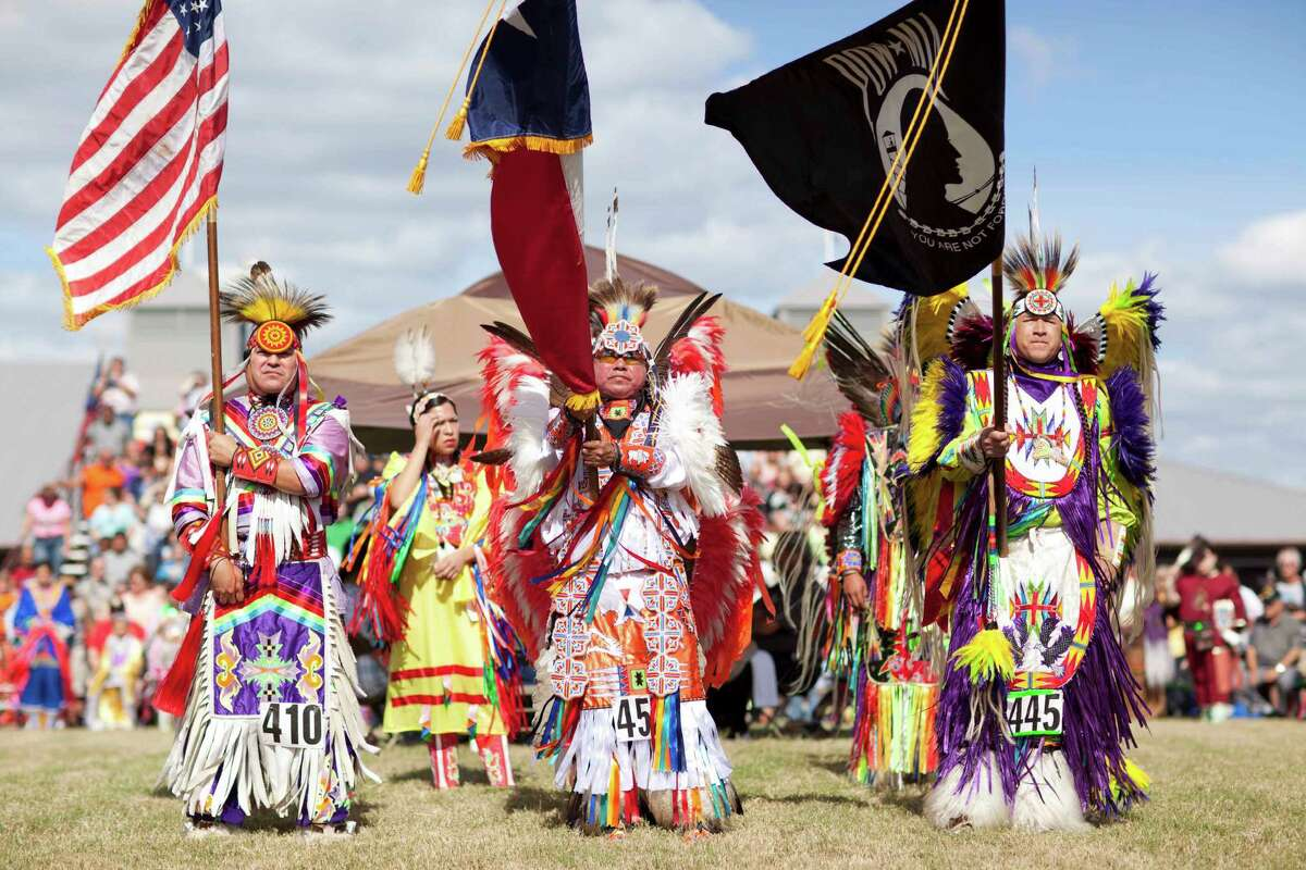 Entry flags unfurl at a past Pow Wow.