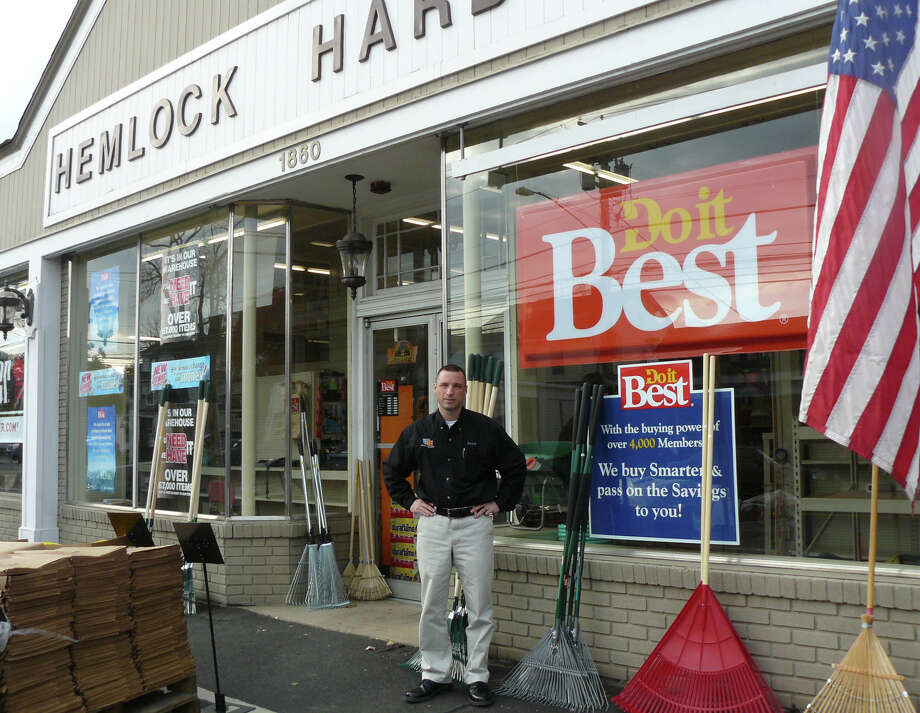 Scott Pesavento, the third-generation proprietor of his family buisness, stands outside Hemlock Hardware, which won a national award for customer servicce, community involvement and buisness acumen. Photo: Gretchen Webster/Staff Photo, Contributed Photo / Fairfield Citizen