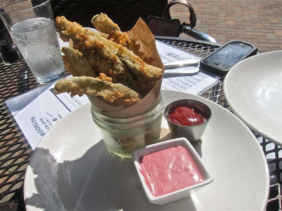 Fried pickles with horseradish/beet sauce at Brooklyn Athletic Club. Photo: Alison Cook