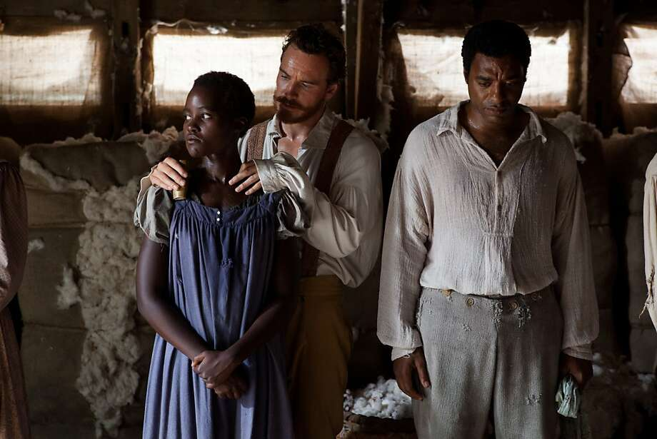 Lupita Nyong'o (left) as Patsey, Michael Fassbender as Edwin Epps and Chiwetel Ejiofor as Solomon Northup make us realize how rare this portrayal is. Photo: Francois Duhamel, Fox Searchlight