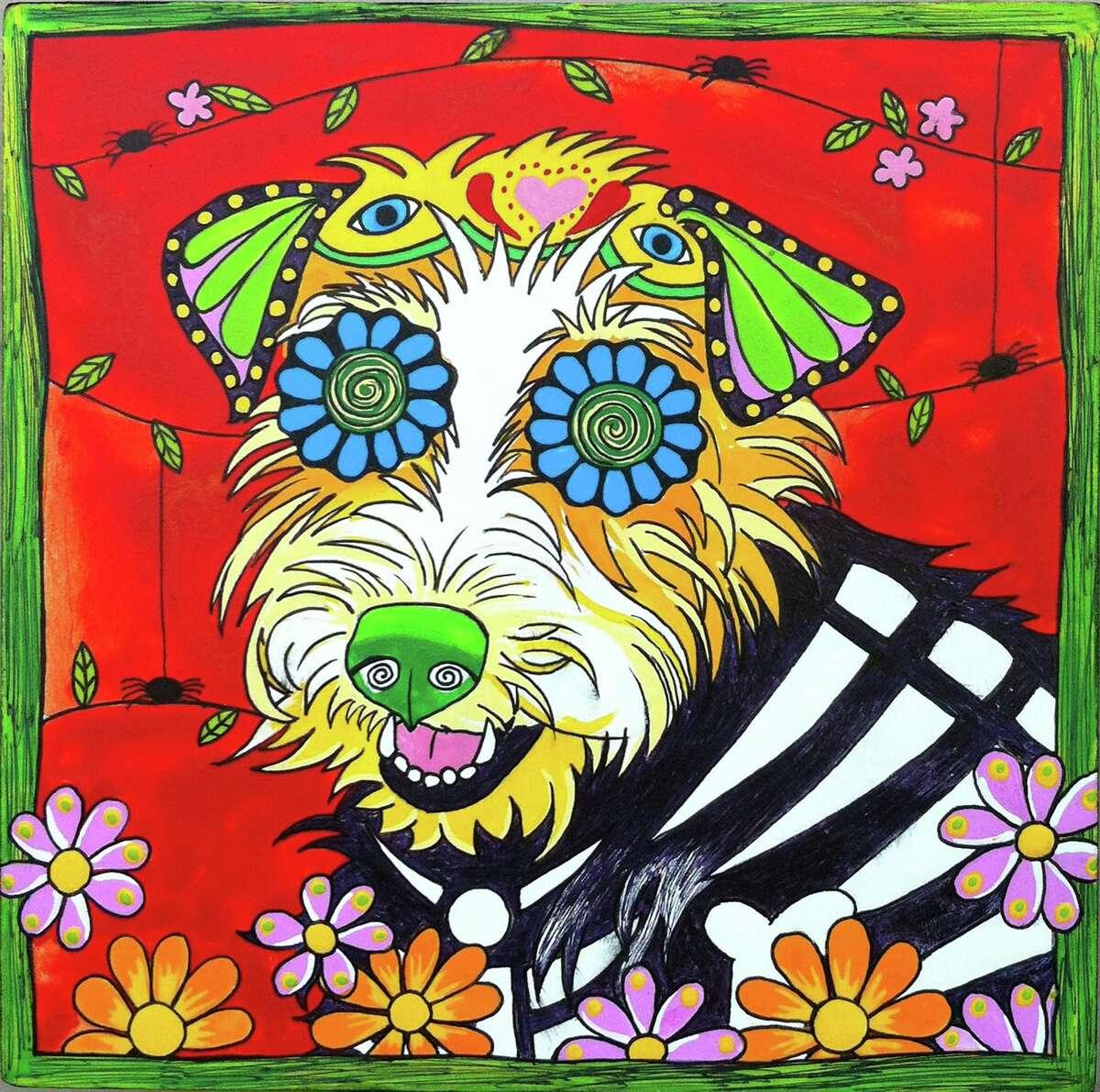 """Dottie, the Jack Russell Terrier"" by San Antonio-based artist Robin Arthur of RobiniArt, who does pet portraits inspired by el Día de los Muertos."
