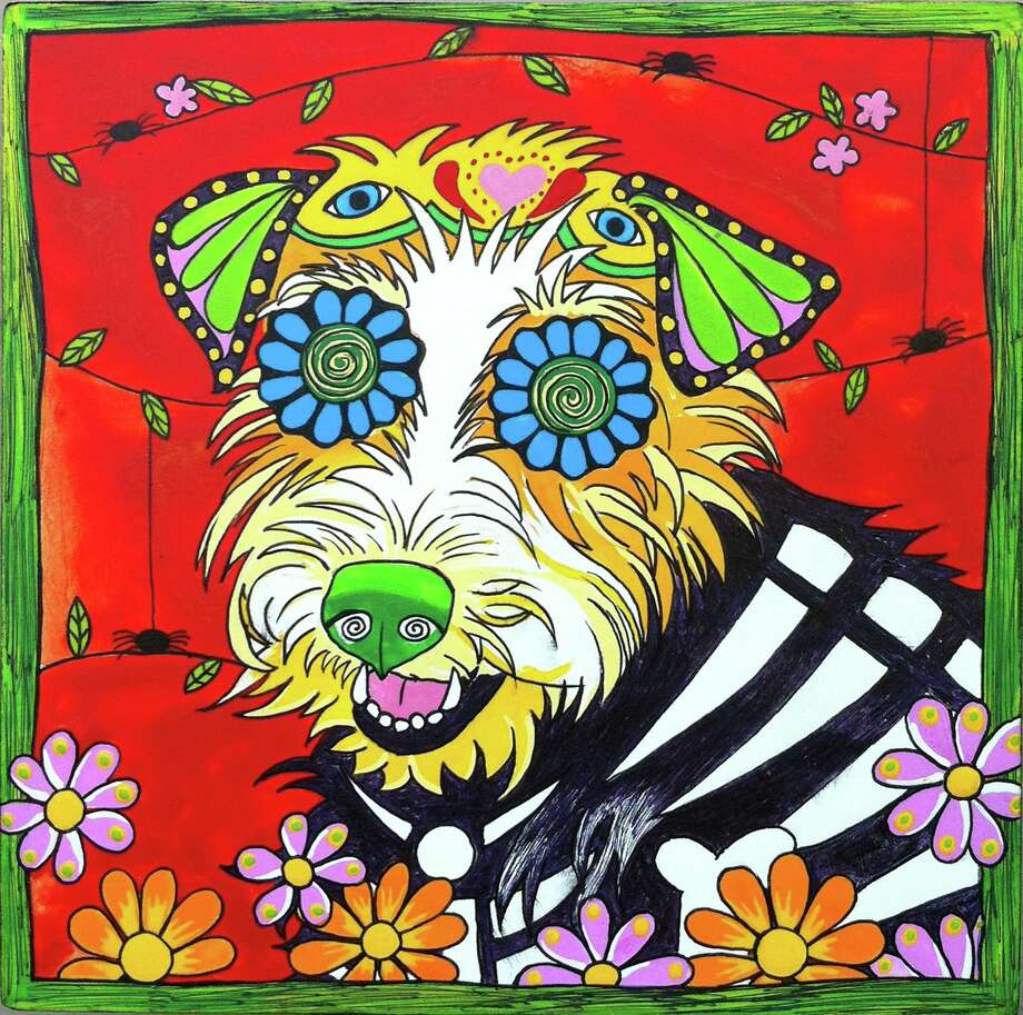 """Dottie, the Jack Russell Terrier"" by San Antonio-based artist Robin Arthur of RobiniArt, who does pet portraits inspired by el Día de los Muertos.  Photo: Courtesy Robin Arthur"