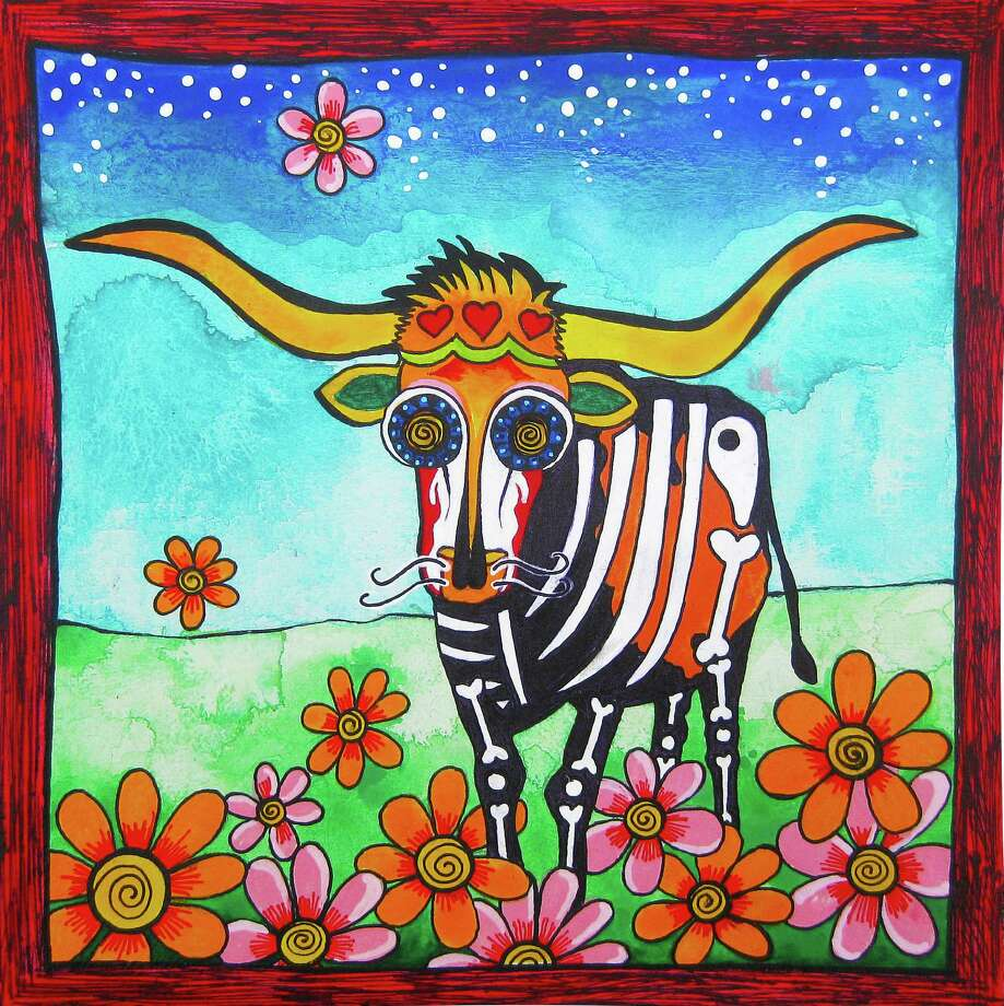 """Texas Longhorn II"" by San Antonio-based artist Robin Arthur of RobiniArt, who does pet portraits inspired by el Día de los Muertos.  Photo: Courtesy Robin Arthur"