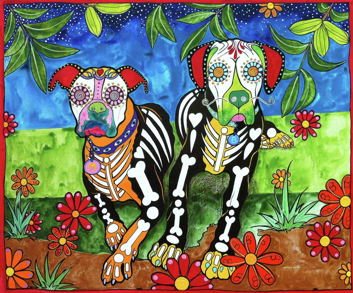 """Maggie and Brutus, the Boxers"" by San Antonio-based artist Robin Arthur of RobiniArt, who does pet portraits inspired by el Día de los Muertos."