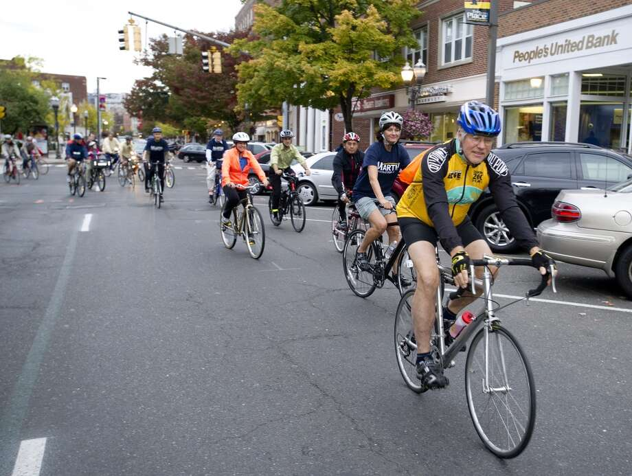 Cyclists ride from Latham Park in Stamford, Conn., on Friday, October 11, 2013, for Bike Stamford, an event to raise awareness and encourage bicycling. Photo: Lindsay Perry