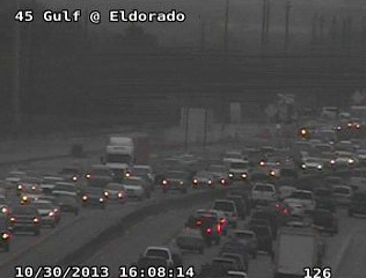 A three-vehicle accident on the I-45 Gulf Freeway north at El Dorado is snarling two lanes and the shoulder.
