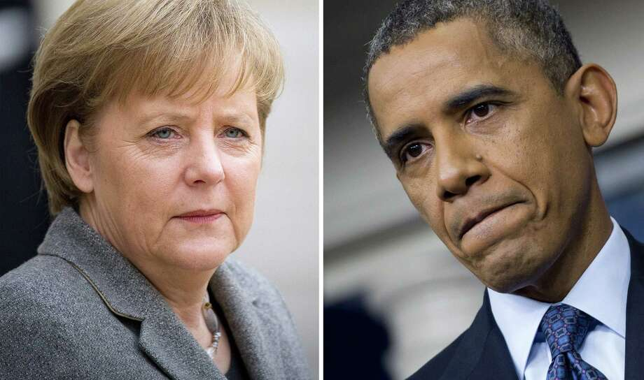 The National Security Agency has listened to the cellphone conversations of German Chancellor Angela Merkel for as long as a decade. And President Barack Obama didn't know a thing about it? Photo: File Photos, Getty Images