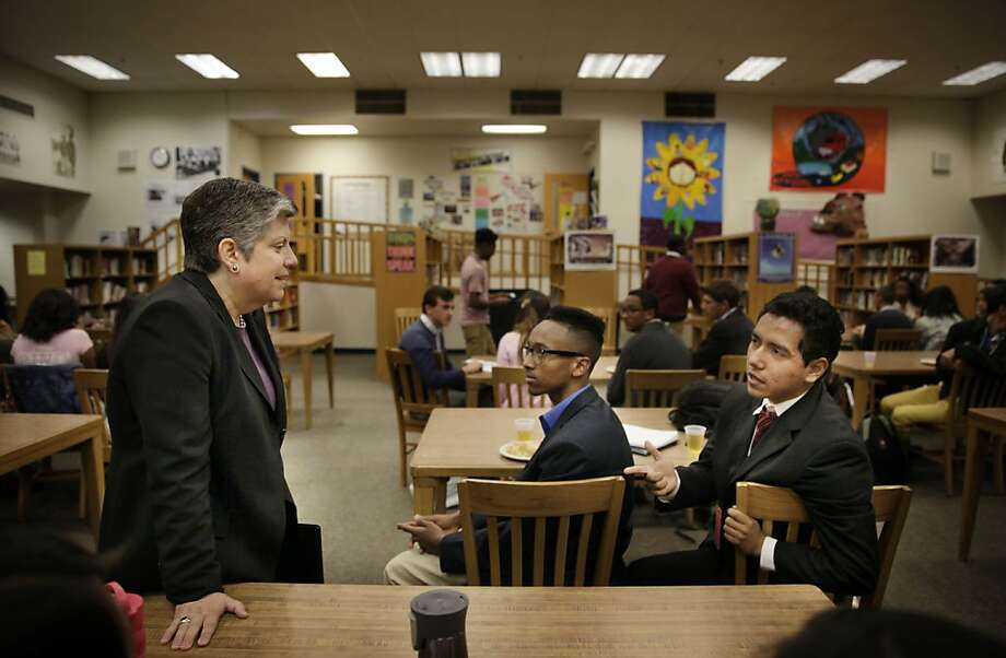 New University of California President Janet Napolitano visits with students Dagmawi Fasil (center), 16, and Kevin Covarrubias, 17, in the Oakland Technical High School library. Photo: Lea Suzuki, The Chronicle