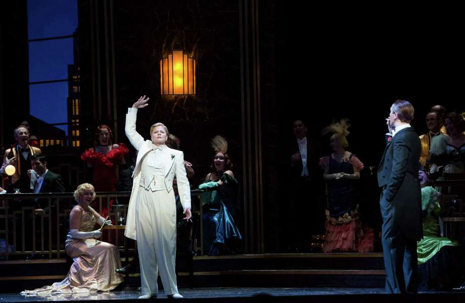 "Susan Graham, in white, plays Prince Orlovsky in Houston Grand Opera's production of Johann Strauss' ""Die Fledermaus."" Photo: Felix Sanchez, Photographer / 2013 all rights reserved"