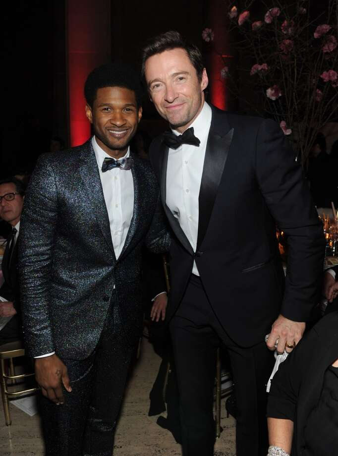 Usher (L) and Hugh Jackman attend Gabrielle's Angel Foundation Hosts Angel Ball 2013 at Cipriani Wall Street on October 29, 2013 in New York City.  (Photo by Jamie McCarthy/Getty Images for Gabrielle's Angel Foundation)