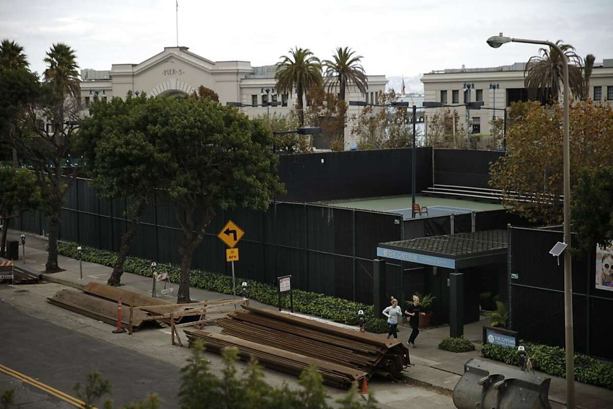 A private tennis and swim club and parking lot along the Embarcadero are seen on Tuesday, October 29, 2013 in San Francisco, Calif.