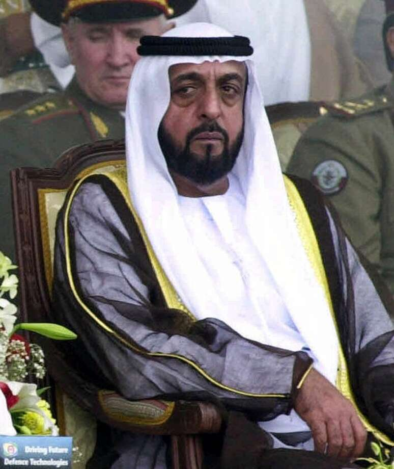 No. 34 -- United Arab Emirates President Khalifa bin Zayed Al-Nahyan  Ranked No. 33 in 2012, President Khalifa bin Zayed Al Nahyan leads a small nation with massive oil reserves, the seventh largest in the world.  [Photo: UAE President Khalifa bin Zayed Al Nahyan watches the opening ceremony of the International Defense Exhibition in Abu Dhabi, United Arab Emirates on March 18, 2001.] Photo: KAMRAN JEBREILI, AP
