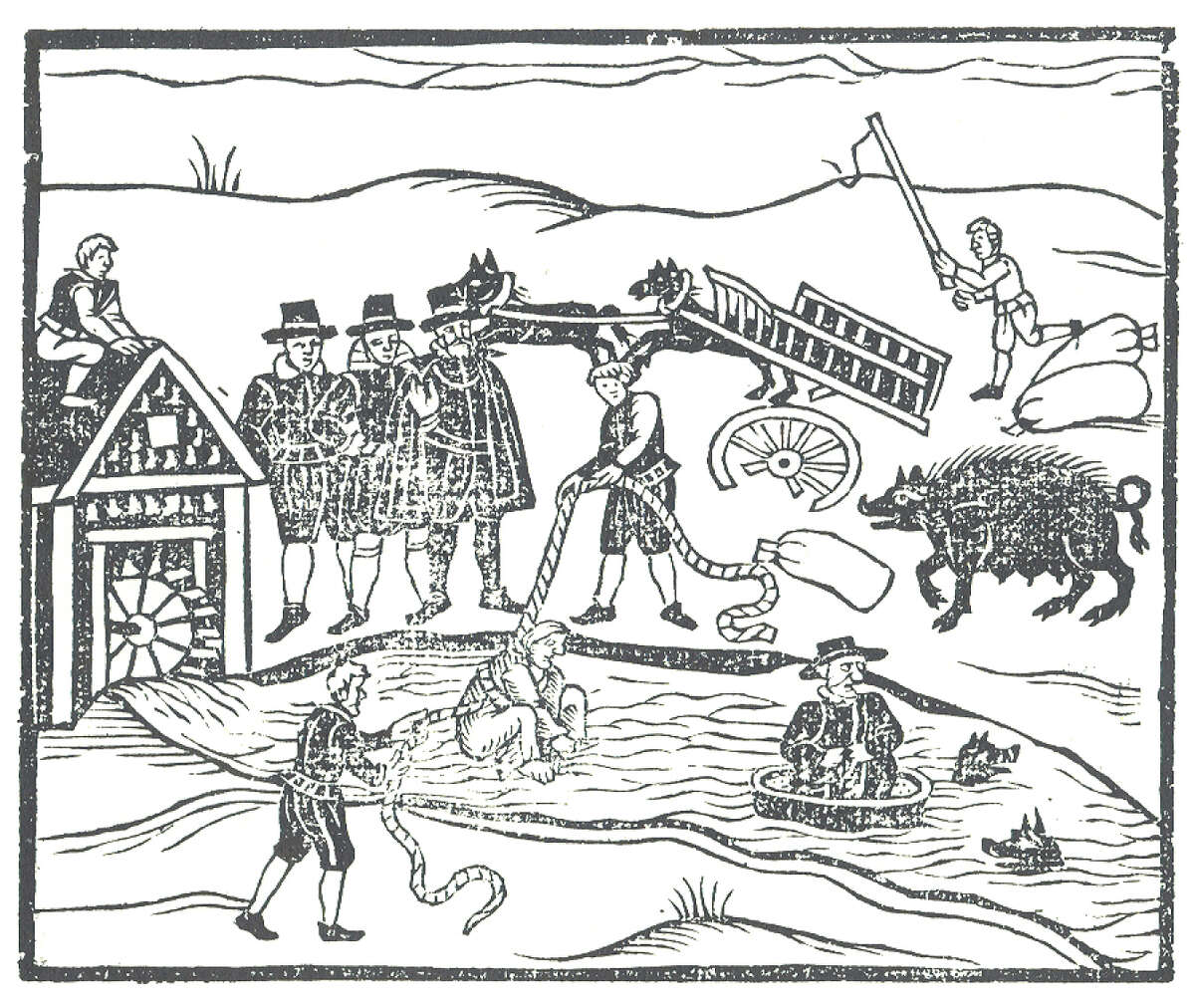 """Woodcut illustration of """"Witches Apprehended"""" showing the water test accused witches would undergo. Stamford has its own history of witch trials."""