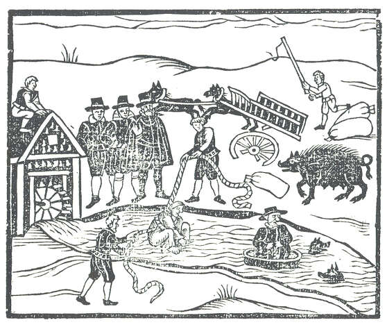 """Woodcut illustration of """"Witches Apprehended"""" showing the water test accused witches would undergo. Stamford has its own history of witch trials. Photo: Contributed Photo / Stamford Advocate Contributed"""