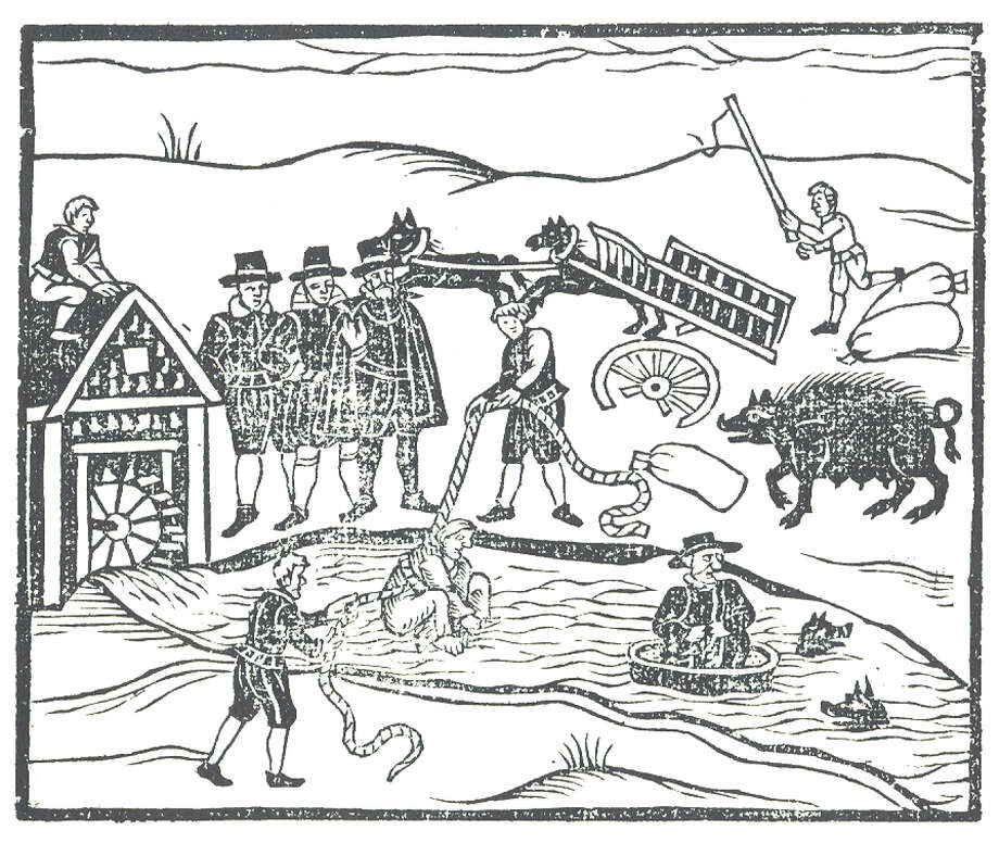 "Woodcut illustration of ""Witches Apprehended"" showing the water test accused witches would undergo. Stamford has its own history of witch trials. Photo: Contributed Photo / Stamford Advocate Contributed"