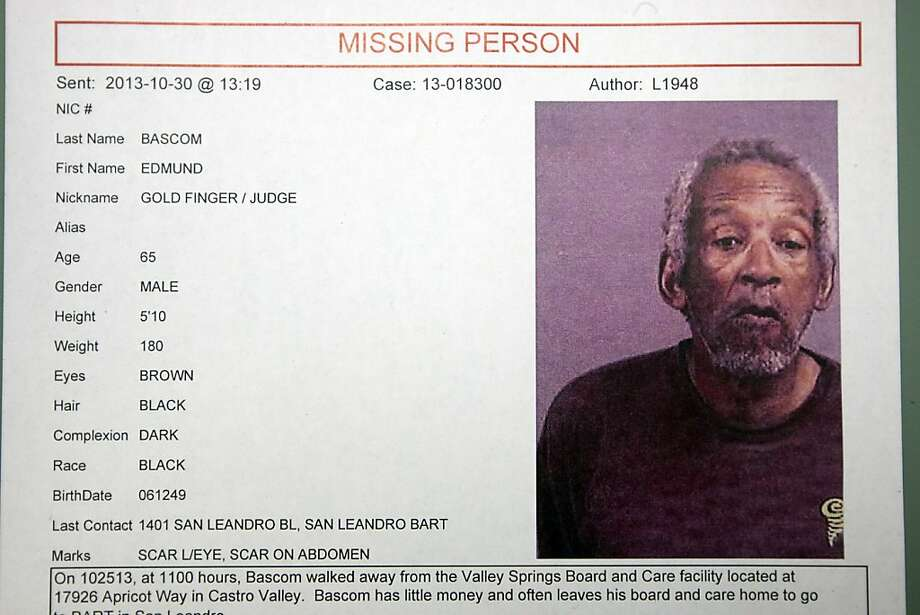 A missing person's report put out by the Alameda Sheriff's Department for Edmund Bascom, who is missing from the Valley Springs Manor care facility in Castro Valley,is seen during a press conference at the Alameda County SheriffÕs Youth and Family Services Bureau in San Leandro, CA Wednesday, October 30, 2013. Photo: Michael Short, The Chronicle
