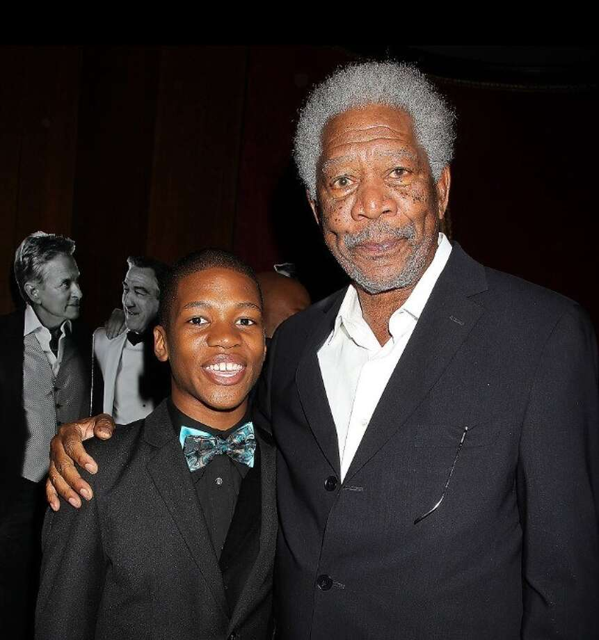 Aaron Bantum with Morgan Freeman at the New York premier of Last Vegas at the Ziegfeld Theatre in New York City on Wednesday, Oct. 30.