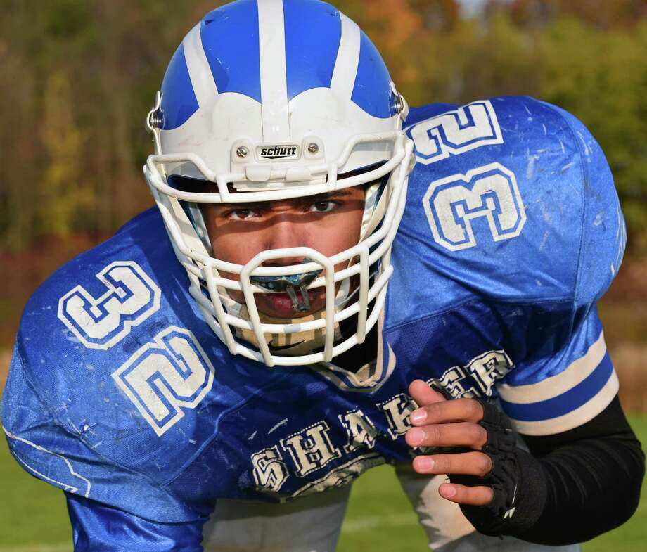Shaker offensive and defensive lineman Nick Griffen during practice Wednesday Oct. 30, 2013, in Colonie, NY.  (John Carl D'Annibale / Times Union) Photo: John Carl D'Annibale / 00024462A