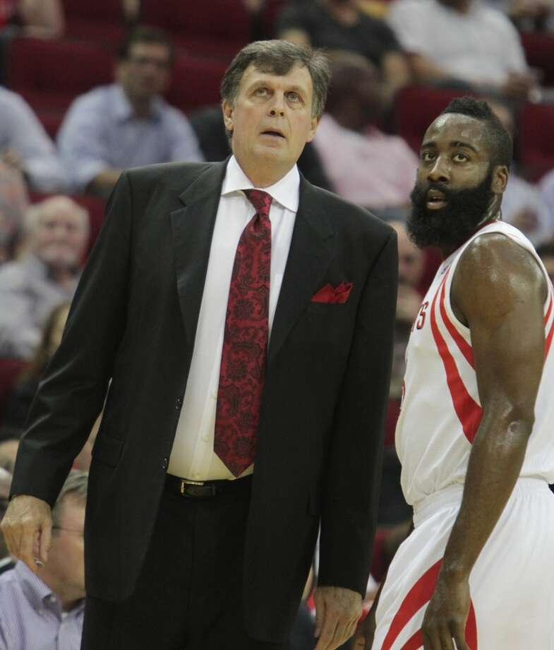 Rockets coach Kevin McHale and shooting guard James Harden speak during the season opener against the Bobcats. Photo: James Nielsen, Houston Chronicle