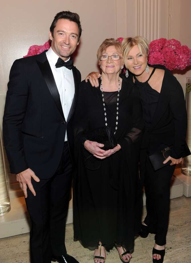 (L-R) Actor Hugh Jackman, Faye Duncan and Deborra-Lee Furness attend Gabrielle's Angel Foundation Hosts Angel Ball 2013 at Cipriani Wall Street on October 29, 2013 in New York City.  (Photo by Jamie McCarthy/Getty Images for Gabrielle's Angel Foundation)
