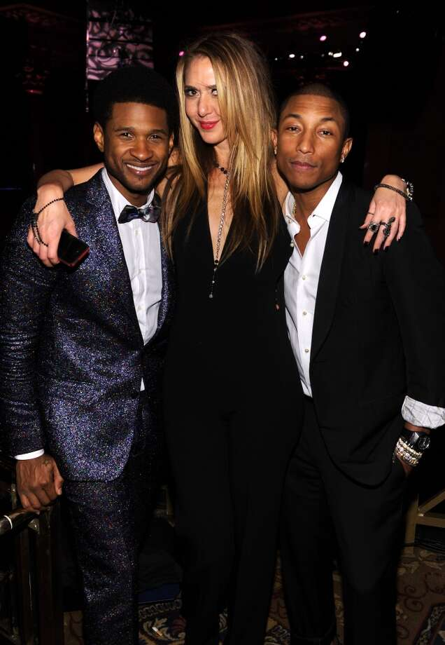 (L-R) Usher, Ofira Sandberg, and Pharrell Williams attend Gabrielle's Angel Foundation Hosts Angel Ball 2013 at Cipriani Wall Street on October 29, 2013 in New York City.  (Photo by Dimitrios Kambouris/Getty Images for Gabrielle's Angel Foundation) Photo: Dimitrios Kambouris