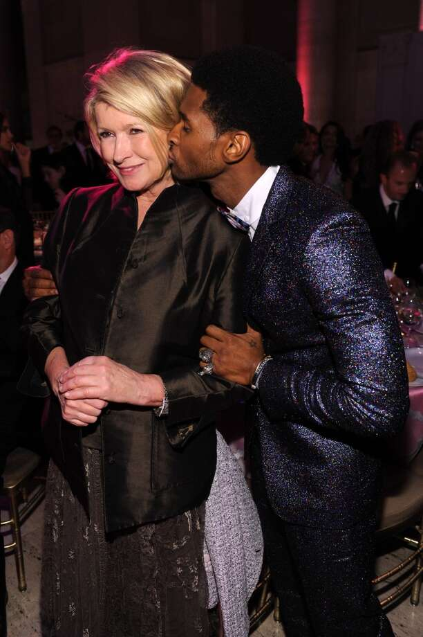 Martha Stewart (L) and Usher attend Gabrielle's Angel Foundation Hosts Angel Ball 2013 at Cipriani Wall Street on October 29, 2013 in New York City.  (Photo by Dimitrios Kambouris/Getty Images for Gabrielle's Angel Foundation)